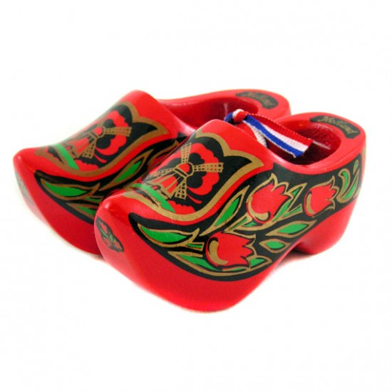 WOODEN SHOES RED GOLD COLORED 10 CM