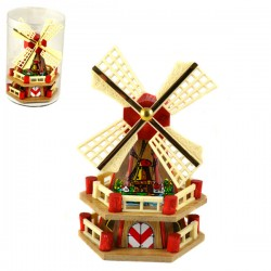 WOODEN WINDMILL GIFT BLISTER RED 19 CM