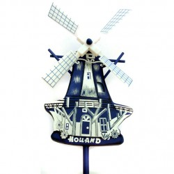 WOODEN MILL ON STICK DELFT BLUE