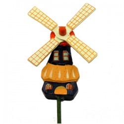 WOODEN WINDMILL ON STICK ROTATING WINGS 9 CM