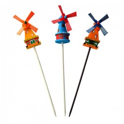 WOODEN WINDMILL ON STICK COLOR ROTATING WINGS SET