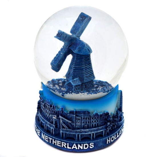 SNOW GLOBE AMSTERDAM HOLLAND WINDMILL BLUE