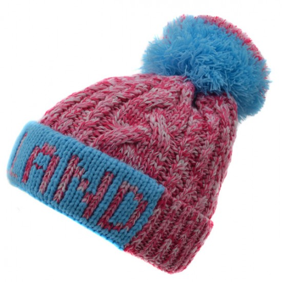 KNITTED HAT SHORT HOLLAND POMPOM PINK BLUE