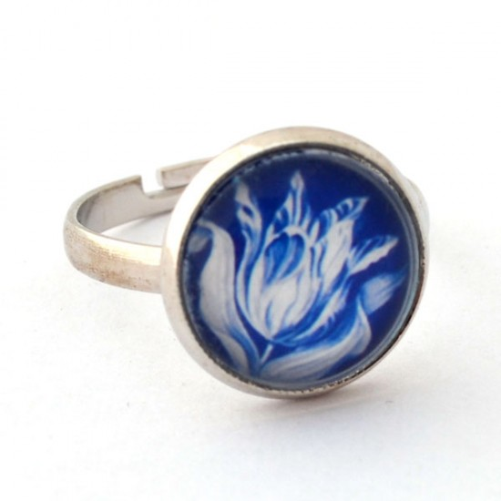 RING DELFT BLUE STONE TULIP SMALL