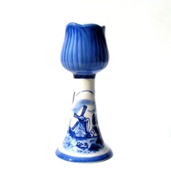 CANDLE HOLDER DELFT BLUE TULIP WINDMILL DECORATION