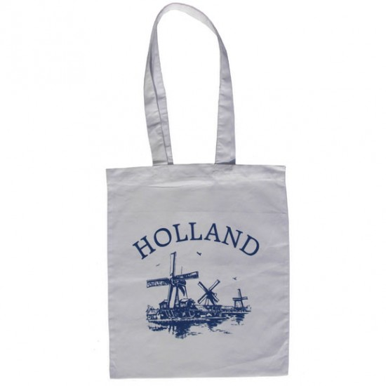 COTTON TOTE BAG HOLLAND WINDMILLS BLUE WHITE