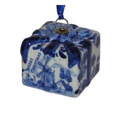 CHRISTMAS DECORATION GIFT BOX DELFT BLUE