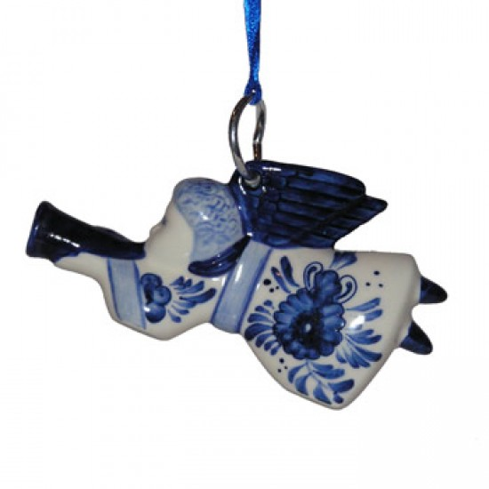 Weihnachtsengel delfter blau trompete