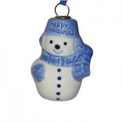 CHRISTMAS DECORATION SNOWMAN SMALL DELFT BLUE