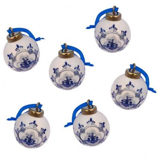 Kerstbal delfts blauw 5 cm set 6 stuks