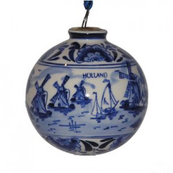 CHRISTMAS BALL DELFT BLUE MILL 8 CM