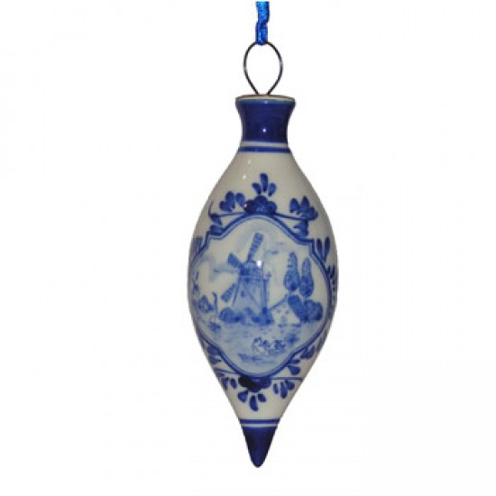 CHRISTMAS BALL DROPLET WINDMILL DELFT BLUE