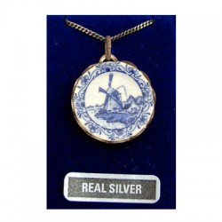 SILVER NECKLACE 42 CM + PENDANT DELFTWARE PLATE WINDMILL 21 MM