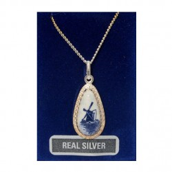 SILVER NECKLACE 42 CM + PENDANT DROPLET DELFTWARE WINDMILL 19 MM