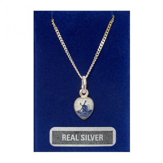 Necklace 42 cm + pendant silver heart delft blue windmill 10 mm