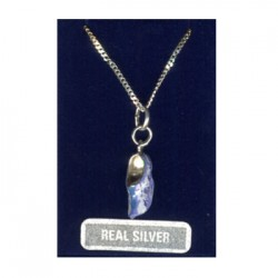 NECKLACE 42 CM + PENDANT SILVER CLOG WINDMILL BLUE