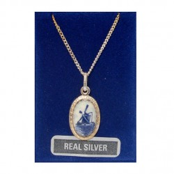 NECKLACE 42 CM + PENDANT SILVER OVAL DELFT BLUE STONE WINDMILL