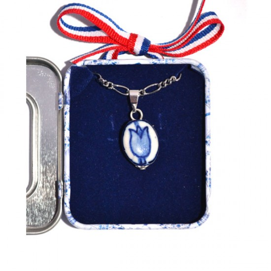 NECKLACE DELFT BLUE TULIP IN SOUVENIR TIN