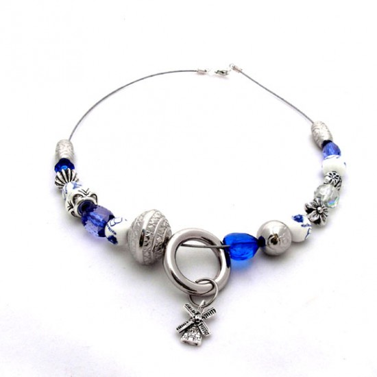 NECKLACE DELFT BLUE BEADS RING WINDMILL