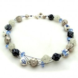 NECKLACE DELFT BLUE BEADS ROSES FANTASY 51 CM