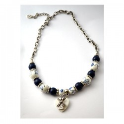 NECKLACE DELFT BLUE BEADS SHELL HEART WINDMILL
