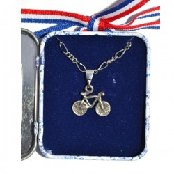 NECKLACE BICYCLE IN DELFT BLUE TIN