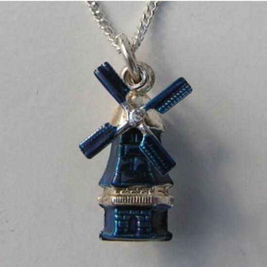 Halskette + anhänger silber mühle blau