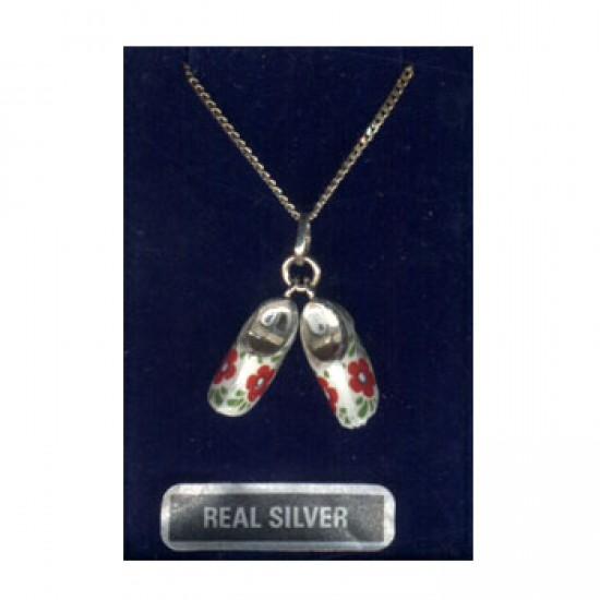 SILVER NECKLACE + PENDANT PAIR CLOGGIES FLOWER RED
