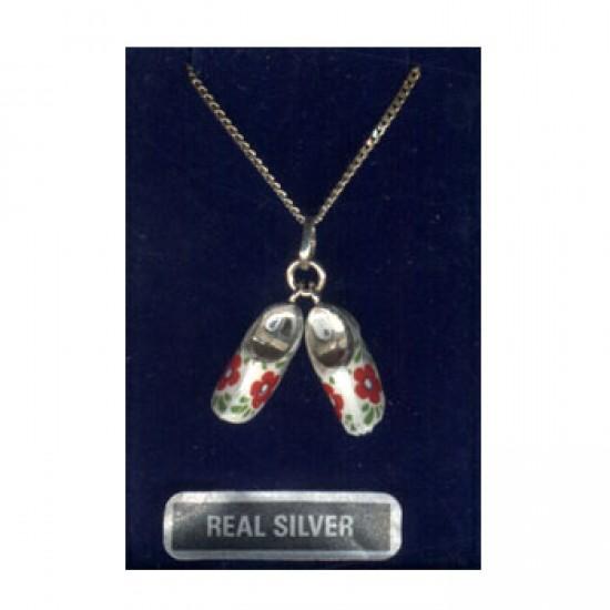 Ketting + hanger zilver paar klompjes bloem rood