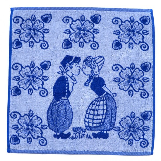 Kitchen towel delft blue kissing couple flowers