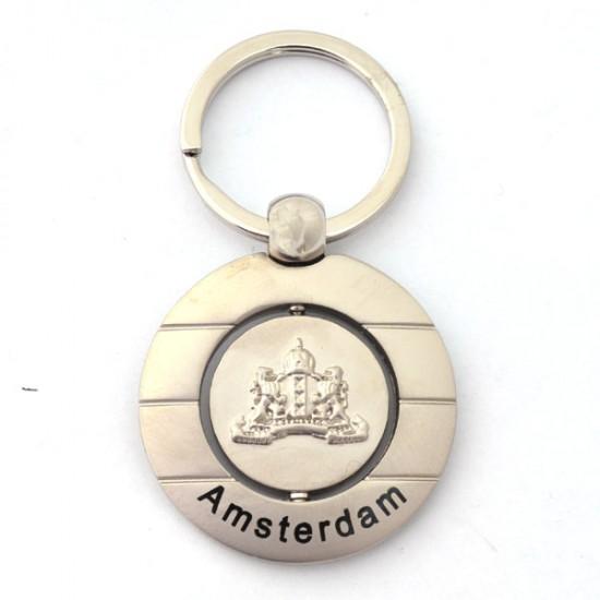 Keychain amsterdam logo chrome round
