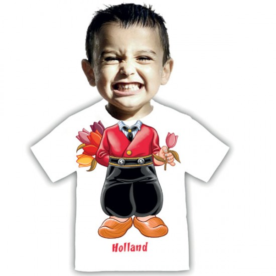 Kinder t-shirt i am boy holland tulpe weiss