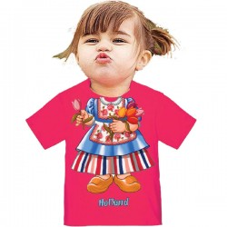 KIDS T-SHIRT I AM GIRL HOLLAND TULIP PINK