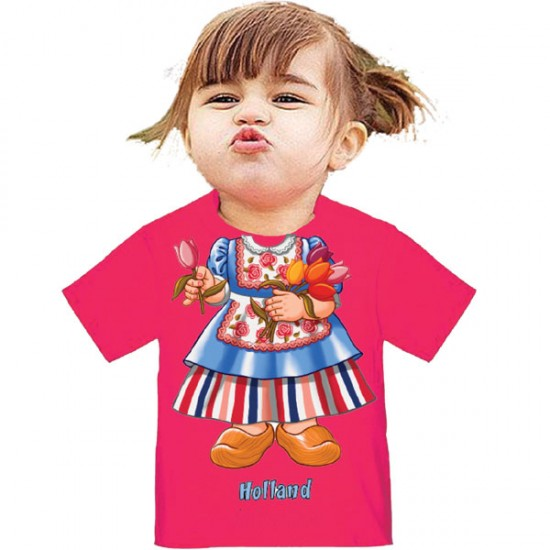 KINDER T-SHIRT I AM MEISJE HOLLAND TULP ROZE