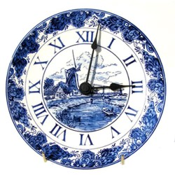 WALL PLATE CLOCK DELFT BLUE IN BOX