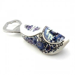 BOTTLE OPENER CLOG WOOD MILL FLOWER DELFT BLUE