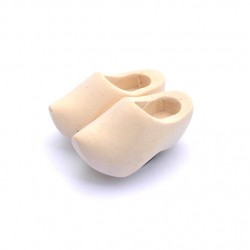 FRIDGE MAGNET WOODEN CLOGGIES BLANC  4 CM