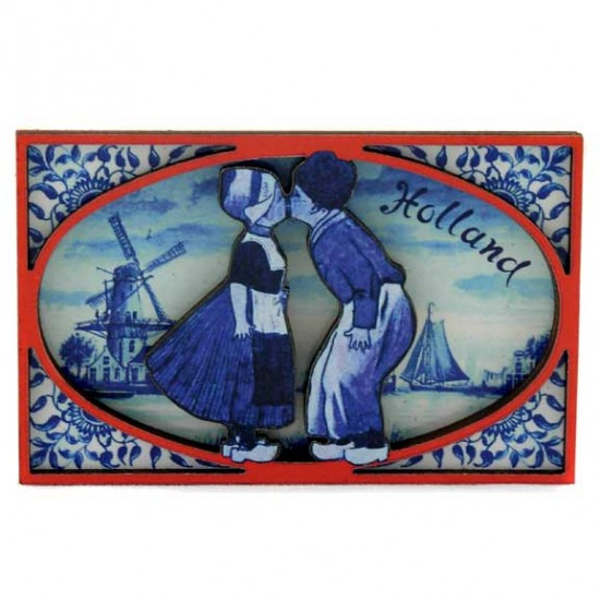 FRIDGE MAGNET KISSING COUPLE 2D RED/BLUE