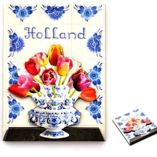 Koelkastmagneet tulpenvaas tegel tableau holland