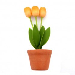 FRIDGE MAGNET TULPJES FLEXIBLE IN TERRA POT ORANGE 8.5 CM