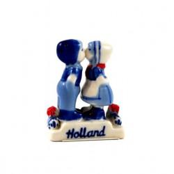 KISSING COUPLE DELFT BLUE CERAMICS RED TULIPS 5 CM