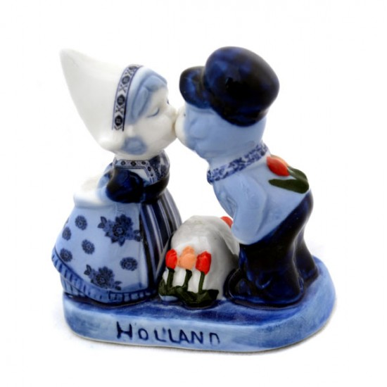 KISSING COUPLE DELFT BLUE MODERN TULIP