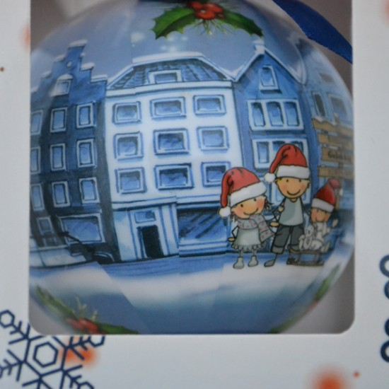 CHRISTMAS BALL DELFT CANAL HOUSES GIFT BOX
