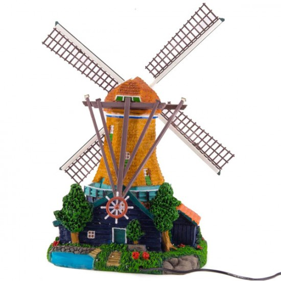 TOWER WINDMILL POLYSTONE ROTATING BLADES LIGHT COLOR