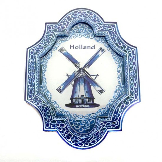 FRIDGE MAGNET 2D APPLIQUE WINDMILL DELFT BLUE PLASTIC