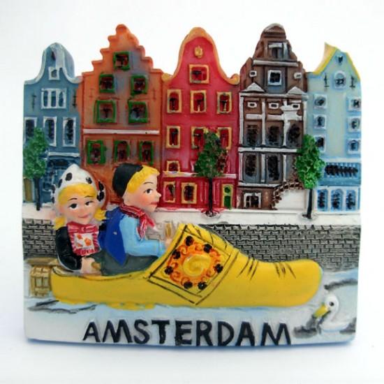 Magnet amsterdam wooden shoe canals 2d