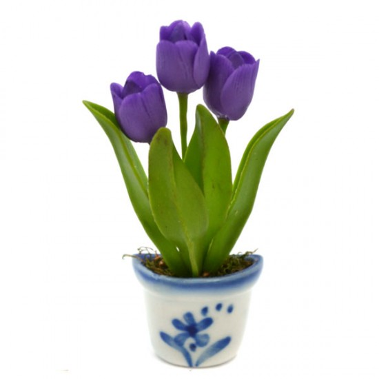 MAGNET POT DELFT BLUE FLEXI TULPJES PURPLE