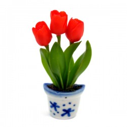MAGNET POT DELFT BLUE FLEXI TULPJES RED