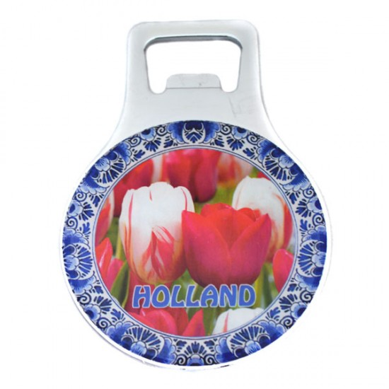 FRIDGE MAGNET OPENER HOLLAND TULIPS DELFT BLUE