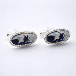 CUFFLINKS DELFT BLUE OVAL STONE MILL EDGE WORKED